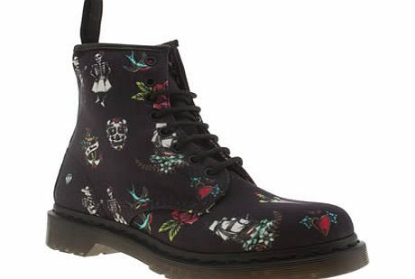 dr martens Navy 8 Eye Tattoo Boots