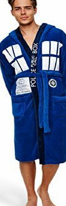 Dr Who Groovy Dr Who Tardis Mens Adult Fleece Hooded Dressing Gown Bathrobe