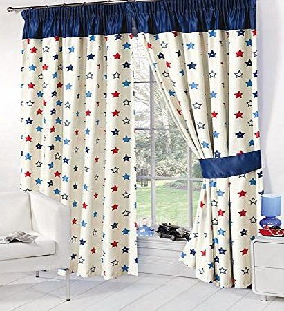 Dreamscene Stars Childrens Kids Supersoft Thermal Blue Stars Blackout Curtains (53`` Wide x 72`` Drop)