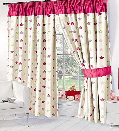 Dreamscene Stars Supersoft Childrens Kids Thermal Pink Stars Blackout Curtains (53`` Wide x 54`` Drop)