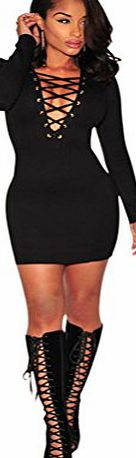 DRESHOW Womens Long Sleeve Deep V-neck Stretch Bodycon Party Bandage Mini Dress Black