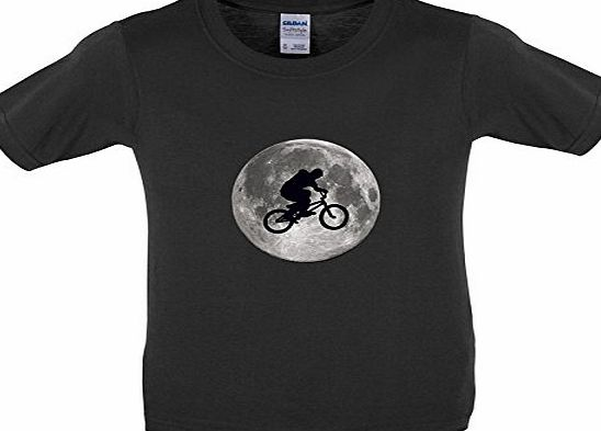 Dressdown BMX Moon - Childrens / Kids T-Shirt - Black - L (9-11 Years)