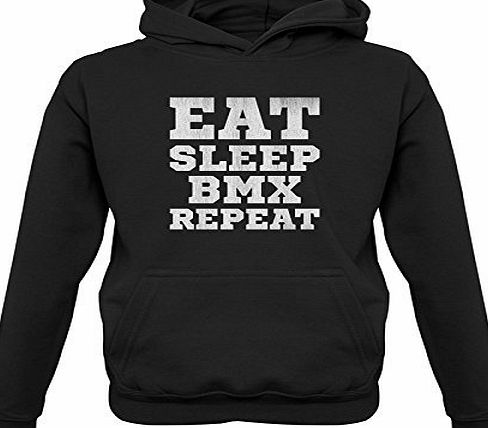 Dressdown Eat Sleep BMX Repeat - Childrens / Kids Hoodie - Black - XL (9-11 Years)