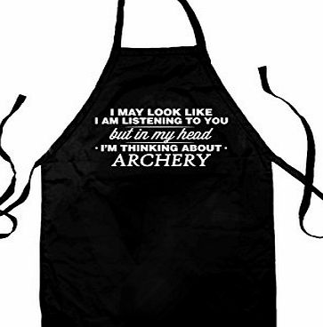 Dressdown In My Head Im Archery - Unisex Adult Fit Apron - Black