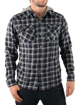 Drunknmunky Wild West Hooded Shirt - Mens hooded shirt from Drunknmunky - Contrast jersey hood - Twin chest button pockets - Stud fasten front - Branding on chest and reverse - Product Code: DM4057NVY16 - Material: 100% Cotton - Washing: Machine Wash - CLICK FOR MORE INFORMATION