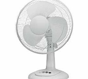 12`` Fan (Cold Air) - 12 inch Desk Top Static & Oscillating Cooling Electric Fan (30cm) 3 speed Adjustable Tilt (Table model) - High Quality Model - ULTRA COOL White Finish