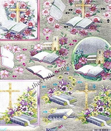 Dufex Religious Cross amp; Bible With Flowers Die Cut 3d Decoupage Sheet by Dufex
