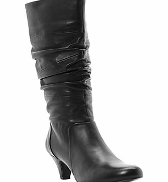 Dune Reta Rouched Detail Calf Boots, Black