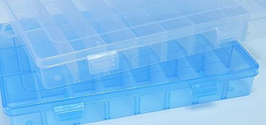 DuoFire  2 Packs (2 Colors) Plastic Storage Box(24 Compartments) Jewelry Earring Tool Containers (Transprant,Blue)