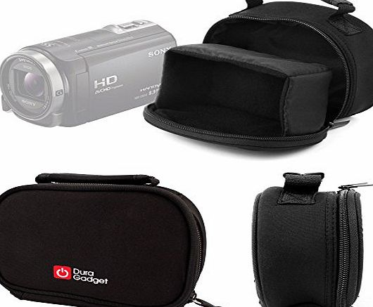 DURAGADGET Black Neoprene Lightweight Camera Case with Accessories Space - For the Sony HDR-PJ620 Handycam with Built-in Projector / Sony HDR-PJ410 Handycam / Sony HDR-CX405 Handycam Camcorder