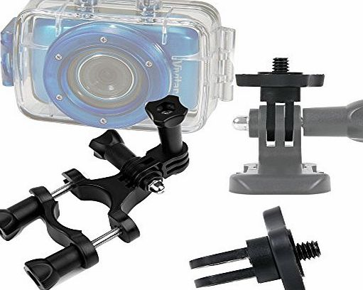 DURAGADGET Durable Vivitar Action Camera Handlebar Mount - High Quality Bike Handlebar Mount For NEW Vivitar DVR785HD-BLU 5MP Pro Waterproof Action Camcorder with Case and Mounts Video Camera with 2-I