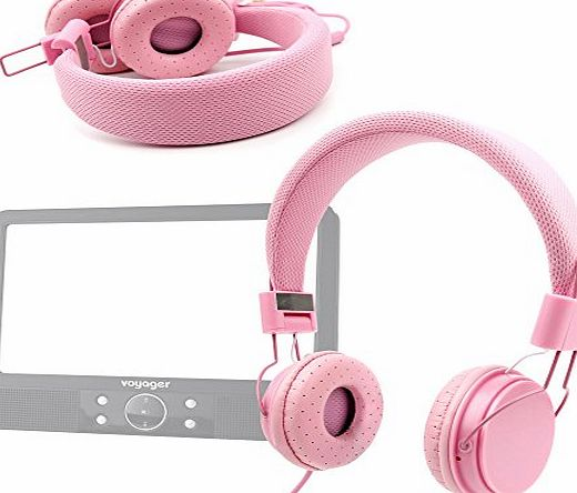 DURAGADGET Ultra-Stylish Pink Kids Fashion Headphones With Padded Design, Button Remote And Microphone For Nextbase Click
