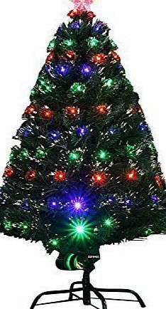 Duronic 4ft (120cm) Indoor LED Multicolour Fibre Optic Xmas/Christmas Tree with stand