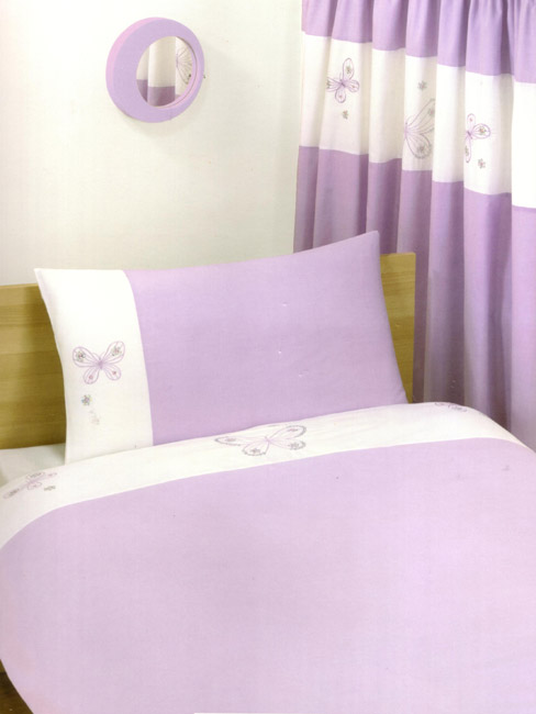 Duvet Cover Butterfly Lilac King Size Embroidered Duvet