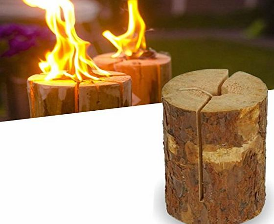 e2e Real Wood Small Party Light Garden Fire Log Candle Torch (Set of 2)