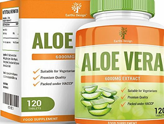 Earths Design Aloe Vera, Maximum Strength Supplement for Weight Loss, Gently Cleanses and Detoxifies Your Digestive Tract, Heals and Moisturizes Your Skin, 6000mg, 120 Tablets