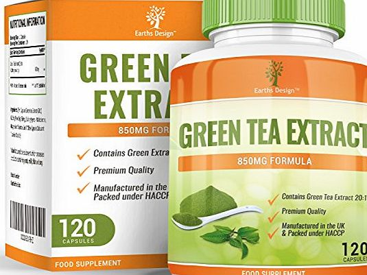 Earths Design Green Tea Extract for Dieting and Slimming, 850mg Green Tea Capsules with EGCG to Burn Fat, Maximum Strength Supplement for Fast Weight Loss, Powerful Antioxidant - 120 Capsules