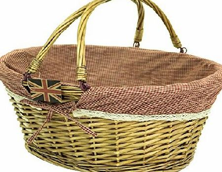 east2eden Honey Wicker Willow Shopping Hamper Basket with Red Gingham amp; Lace Liner In Choice of Deals (Single Basket)