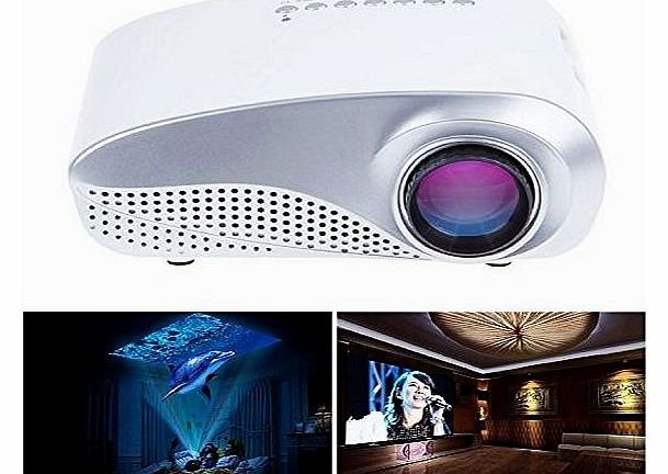 Easy Go Easygo® white 60`` Portable Mini LED   LCD Projector Cinema Theater, Support Pc Laptop VGA  Hdmi (Laptop, MHL Smart Phone)  Sd Card   USB (U Disk)  Av (Dvd) Input, with Remote Control