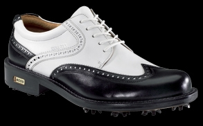 black and white wingtip golf shoes
