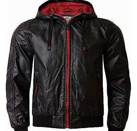 Ecko Mens Ecko Faux Leather Jacket AMAZON Hooded Leather Look Coat ...