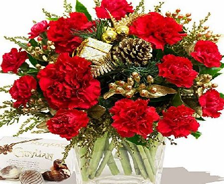 Eden4flowers SIMPLY CHRISTMAS RED BOUQUET amp; CHOCOLATES - Christmas Flowers amp; Bouquets by Eden4flowers