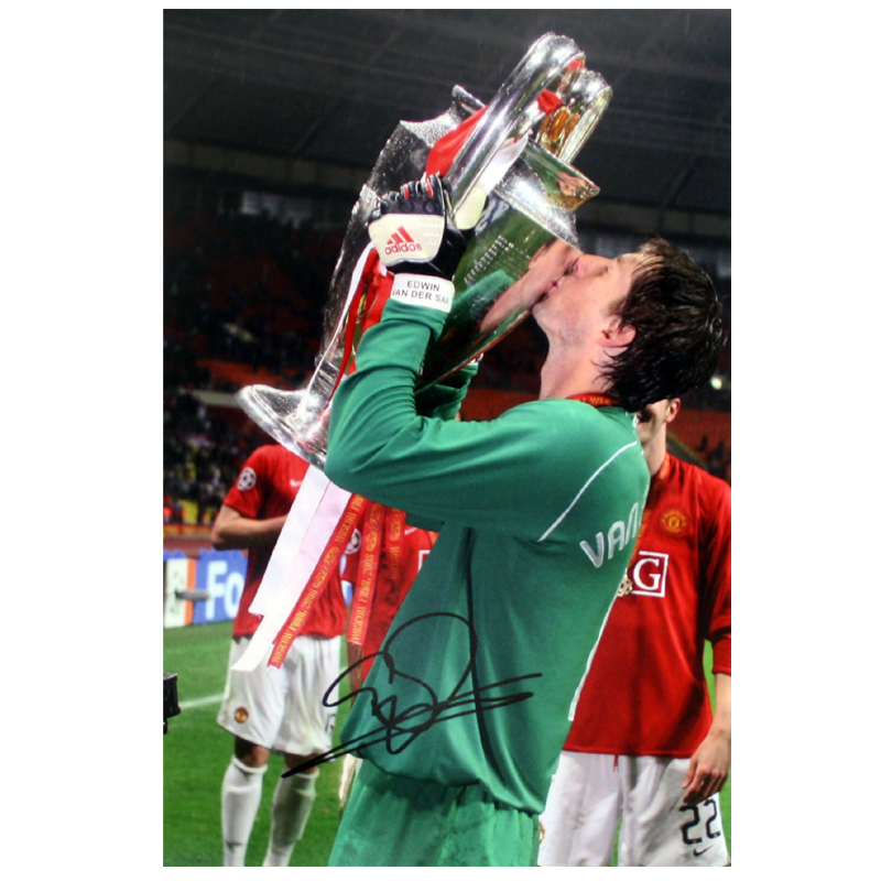 Van Der Sar Signed Manchester United Photo: Kissing The European Cup