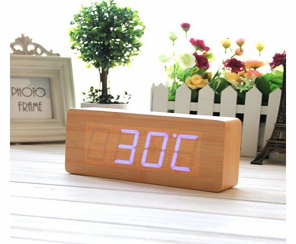 Wood Grain Clock Fashion Wood Alarm Clock Green LED Digital Clock - Time Temperature Date Display- Sound Control- with USB Cable