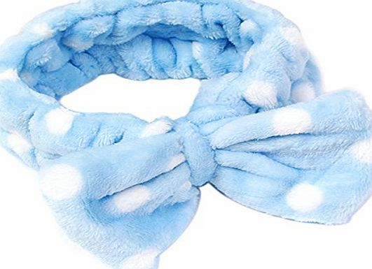 EJY Blue Face Washing Hair Band Women Bow Makeup Cosmetic Elastic Headband