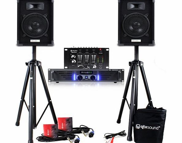 Ekho 2x Ekho 8`` Disco Speakers   Amp   Mixer   Cables   2x Stands PA System 300W