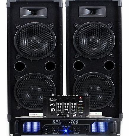 Ekho 2x Ekho Dual 2 x 8`` Disco Speakers   PA Amplifier   Cables   DJ Mixer Party Home Audio System 1600W