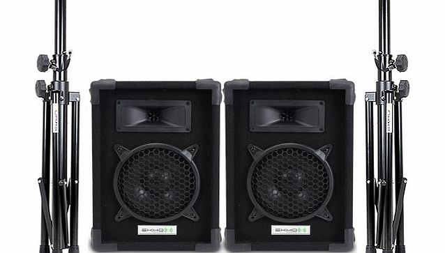Ekho 2x Ekho MAX 8`` Inch Passive PA Party Disco Home Audio Speakers + 2x DJ Speaker Stands Setup 300W product image