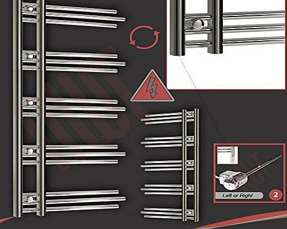 Electric Designer Towel Rails 500mm(w) x 1200mm(h) ``Beaumaris`` Designer Electric Heated Towel Rail, Radiator, Warmer. Supplied with 300w Thermostatic Electric Element