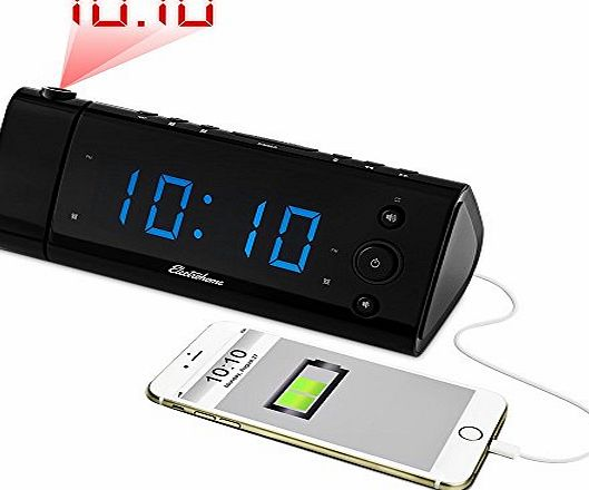 ELECTROHOME  USB Charging Alarm Clock Radio with Time Projection, FM Radio, Battery Backup, Dual Alarm, 1.2`` LED Display for Smartphones amp; Tablets (EAAC475UK)