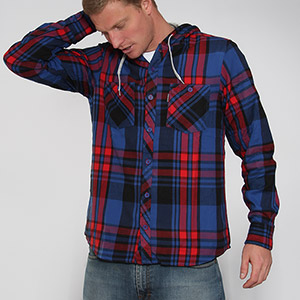 Arroyo Hooded flannel shirt - True Navy
