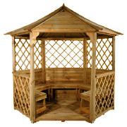 Wooden Gazebo with Seats