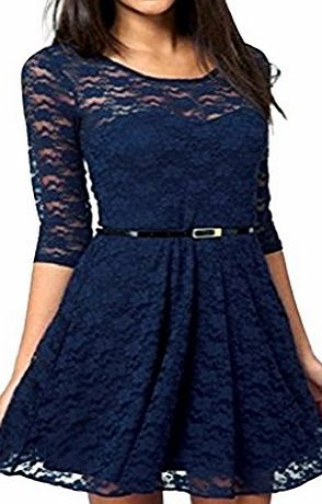 Elite99® Elite99 Women Spoon Neck 3/4 Sleeve Lace Dress Belt Include 4 COLORS UK Size 6-16 (6, Blue)