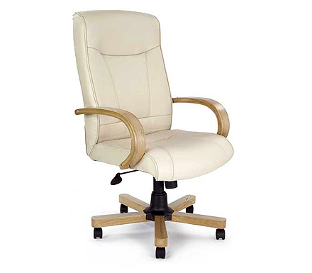 Eliza tinsley ltd clemson cream leather deluxe office for Cream office chair