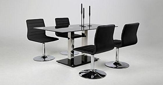 Elkin Luxury ELKIN Black Tempered Glass Dining Table With Chrome Frame(Chairs are NOT Included)