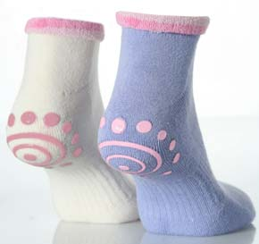 Ladies 2 Pair Elle Bamboo Trainer Liners With Roll Cuff And Grip in 2 Colours Blue / Cream