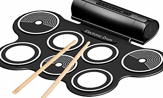 Emperor of Gadgets Portable Electronic Drum Pad Kit with Sticks and Foot Pedals - Complete Silicone Roll-Up Style Electronic Drum Set