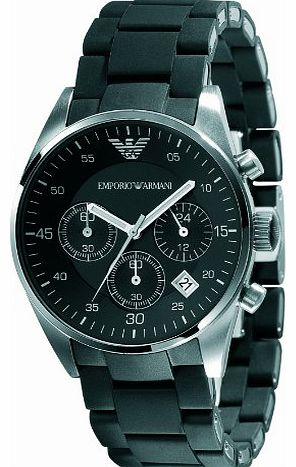 Emporio Armani Ladies Chronograph Sport Watch, Round Case Stainless Steel Bracelet with Black Silicone covering. product image