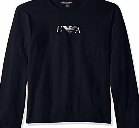 Emporio Armani Mens Longsleeved Logo T-Shirt , Blue, Large