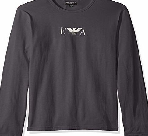 Emporio Armani Mens Longsleeved Logo T-Shirt, Grey, Small