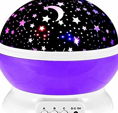 Emwel Star Projector Emwel® 360 Degree Romantic Room Rotating Cosmos Star Projector Starry Moon Sky Night Projector Kid Bedroom Lamp for childen gift (Purple)