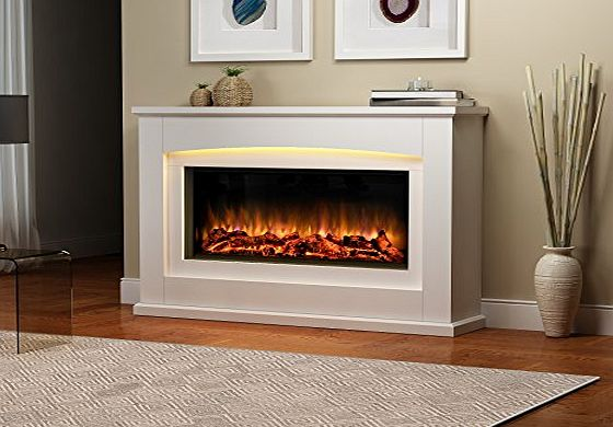 Endeavour Fires and Fireplaces Danby Electric Fireplace Suite Glass fronted electric fire 220/240Vac, 1amp;2kW with multi function remote control in a very light cream MDF fireplace suite.