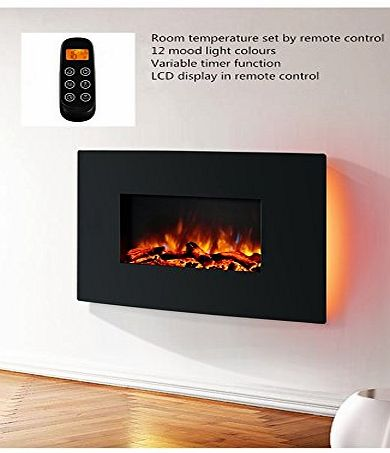 Endeavour Fires and Fireplaces Endeavour Fires Egton Wall Mounted Electric Fire, Black Curved Glass, 1amp;2kW, Remote Control (L 910mm x H 580mm x W 180mm)