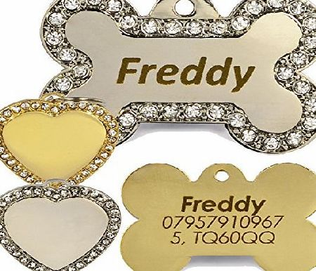 Engravables Engraved Diamante Bling Pet ID Dog Tags, Contrasting Text, Heart or Bone Pet tag (Silver Bone Pet Tags, Both Sides Engraved)