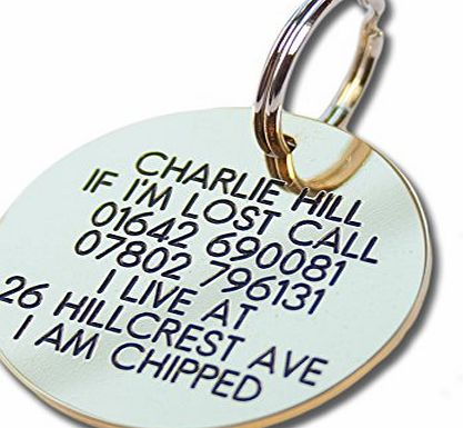 Engraving Studios Deeply engraved solid brass 39mm circular pet tag