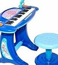 Childrens Recording Electronic 36 Key Keyboard Piano With Stand Microphone and Stool BLUE
